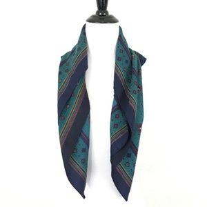 Vintage Emerald  / Navy Neck Scarf Size 29x29
